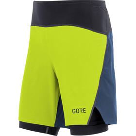 GORE WEAR R7 2in1 Shorts Men citrus green/deep water blue